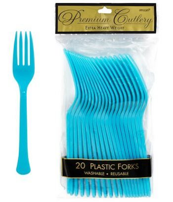 Premium Plastic Bermuda Blue Forks - 24CT-0