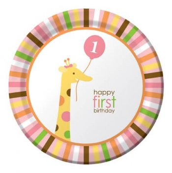 "Sweet at 1 Birthday Girl Lunch Plates 9"" - 8CT-0"