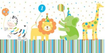 "Sweet at 1 Birthday Boy Plastic Tablecover - 54"" x 108""-0"