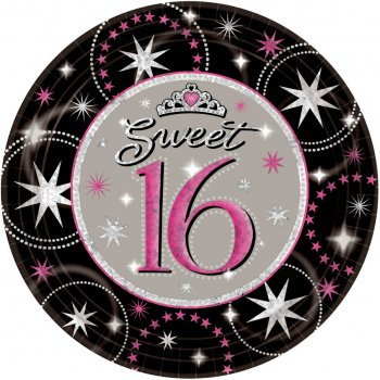 """9"""" Sweet 16 Prismatic Lunch Plates-0"""