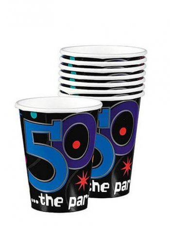 50th Birthday 9oz Paper Cups - 8ct-0