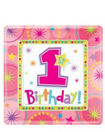 "10"" Square Plate One-derful Birthday Girl-0"