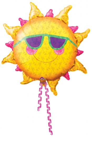 Foil Smiling Sun Balloons 35in P35-0