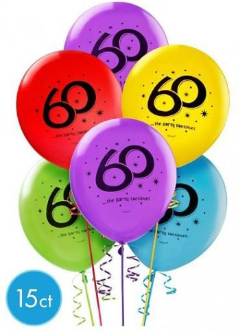 """""""60"""" Printed Balloons Assortment 12in - 15CT-0"""