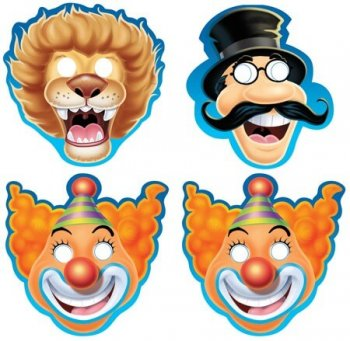 Big Top Birthday Paper Masks - 8CT-0