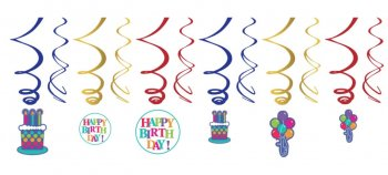 Birthday Fever Swril Decoration - 12CT-0