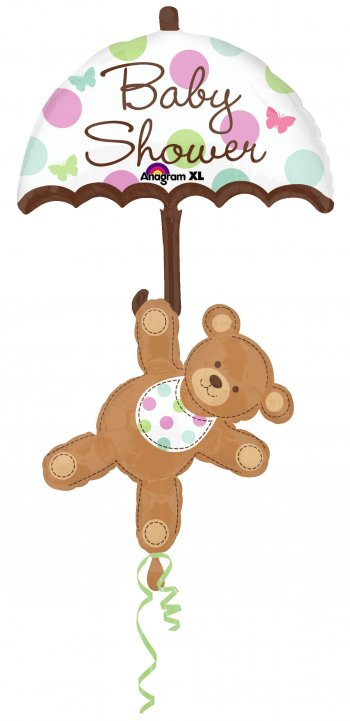 "Baby Shower Umbrella & Bear Balloons 49"" P75-0"