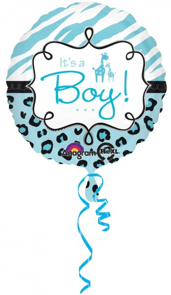 Blue Wild Safari Baby Shower Balloons 18in S40-0