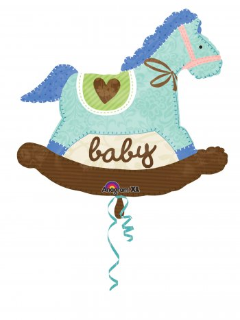 Baby Blue Rocking Horse Super Shape Balloons P35-0