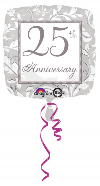 "18"" Square Elegant Scroll 25th Anniversary Balloons S40-0"