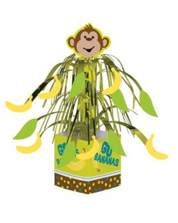 "Jungle Animal ""Go Bananas"" Monkey Centerpiece 13.5""-0"