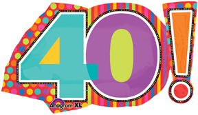 40th Birthday Dots & Stripes Birthday Balloons 29in P30-0