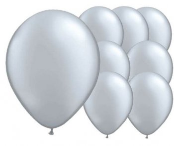 "8"" Silver Latex Balloons -20ct-0"