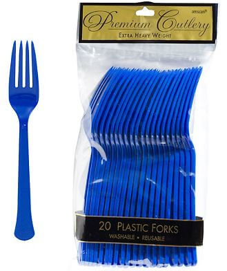 Forks Premium Plastic Royal Blue - 20CT-0