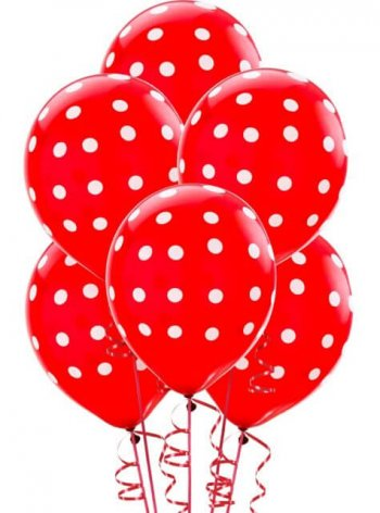 "Polka Dot Red Latex Balloons 12"" - 10CT-0"