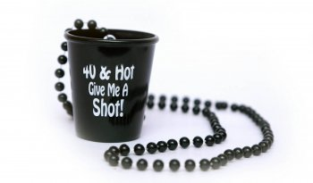 """40 & Hot, Give Me a Shot"" Necklace Shot Glass 20in-0"
