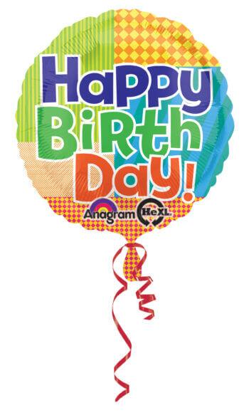 "Bold Pattern Birthday Balloons 18"" S40-0"