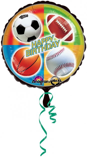 "Championship Sports Birthday Balloons 18"" S40-0"
