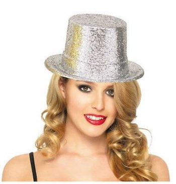 Glitter Top Hat Silver-0