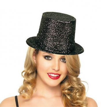 Glitter Top Hat Black-0