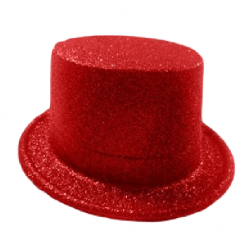Glitter Top Hat Red-0