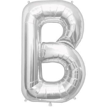 Letter B Silver Mylar Balloons-0