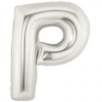 Letter P Silver Mylar Balloons-0