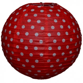 Red Polka Dot Paper Lantern-0