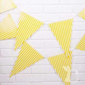 Striped Flag Buntings Yellow - 9FT-0