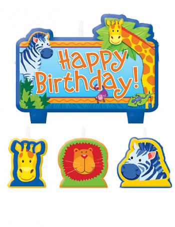 Jungle Animal Birthday Candle Set -0