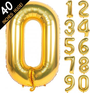 "40"" Golden Numerical 0 Balloons"