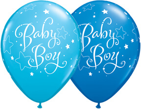 "Baby Boy Stars Blue & Royal Blue Balloons 11"" 10CT-0"