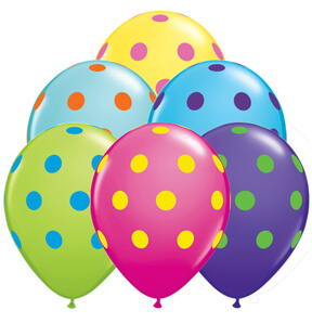 "Big Polka Dots Balloons 12"" 10CT-0"
