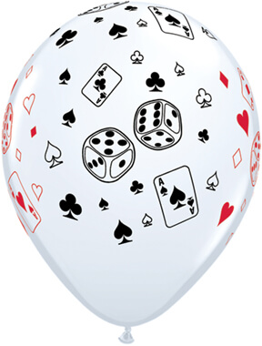 """Cards & Dice Round White Balloons 11"""" 10CT-0"""