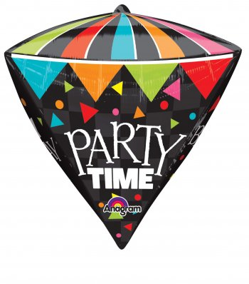 Cone HBD Party Time Diamond Super Shape Balloons P40-0
