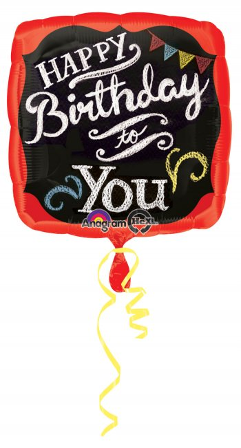 "Chalkboard Happy Birthday Square Balloons 18"" S40-0"