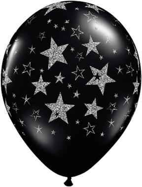 "Glitter Stars & Stars-A-Round Black Onyx Balloons 11"" 10CT-0"