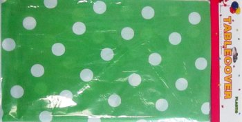 Polka Dot Plastic Table cover Green-0