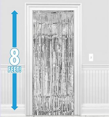 Foil Curtain Decoration Silver - 8ft x 3ft-0