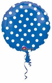"Polka Dot Balloons Blue 18"" S50-0"