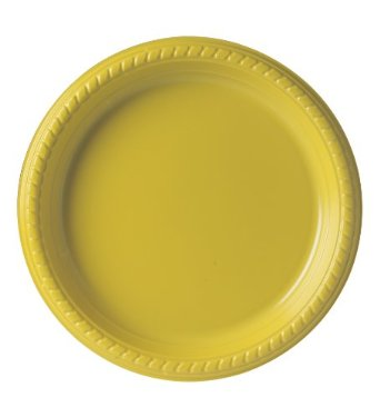 "9"" Premium Plastic Yellow Plates - 20CT-0"