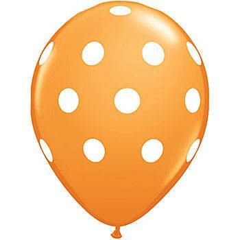 "Polka Dot Orange Latex Balloons 12"" 10CT-0"