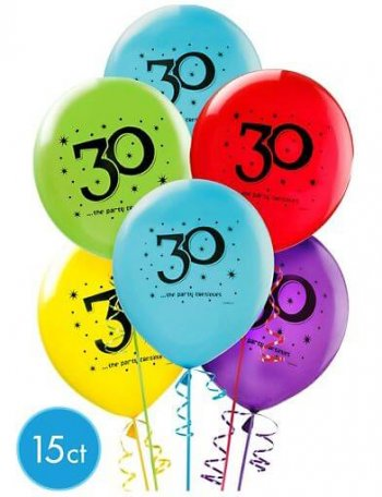 """30"" Printed Birthday Balloons 12in - 15CT-0"