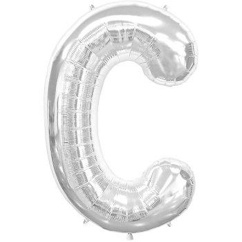 Letter C Silver Mylar Balloons-0
