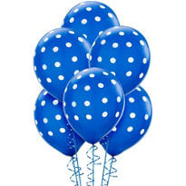 "Polka Dot Royal Blue Latex Balloons 12"" -100CT-0"