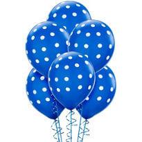 """Polka Dot Royal Blue Latex Balloons 12"""" -100CT-0"""