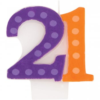 Bright & Bold 21st B'day Candle-0