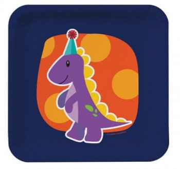 Dinosaurs Theme Sqr B'day Party Dessert Plates - 8CT-0
