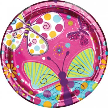 "Butterfly Sparkle Paper Plates 9"" - 8CT-0"