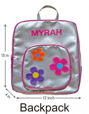 Personalized Backpack Silver Flower-0